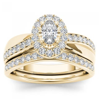 De Couer 14k Yellow Gold 3/4ct TDW Oval Cut Diamond Halo Engagement Ring Set