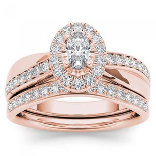 De Couer 14k Rose Gold 3/4ct TDW Oval Cut Diamond Halo Engagement Ring Set