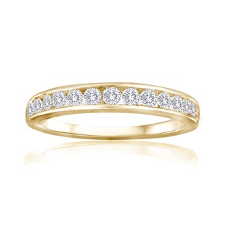 10k Yellow Gold 1/4ct TDW Diamond Wedding Band - White I-J