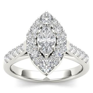 De Couer 14K White Gold 1 1/2ct TDW Marquise Shape Diamond Halo Engagement Ring - White H-I