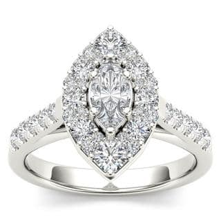 de couer 14k white gold 1 12ct tdw marquise shape diamond halo engagement ring - Marquise Wedding Rings