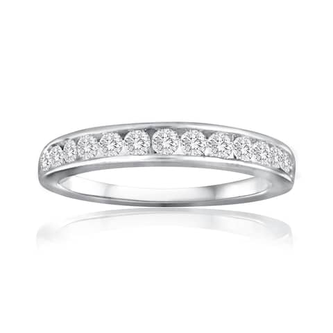 1/2 CTTW Diamond Women's Wedding Band In 10k White Gold - White I-J