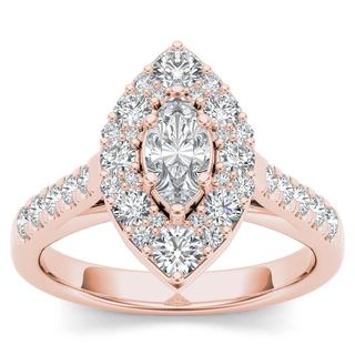 De Couer 14K Rose Gold 1 1/2ct TDW Marquise Shape Diamond Halo Engagement Ring (H-I, I2)