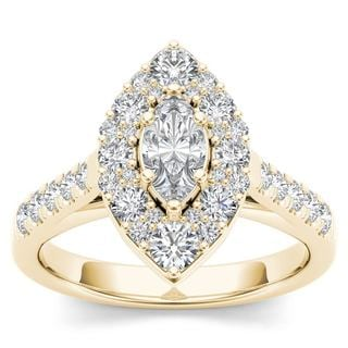 De Couer 14K Yellow Gold 1 1/2ct TDW Marquise Shape Diamond Halo Engagement Ring