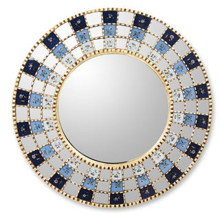 Handcrafted Reverse Painted Glass 'Blue Blossom Halo' Wall Mirror (Peru)