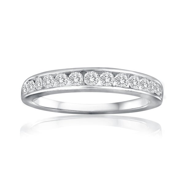 10k White Gold 1ct TDW Diamond Wedding Band