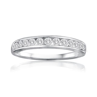 10k White Gold 1ct TDW Diamond Wedding Band - White I-J