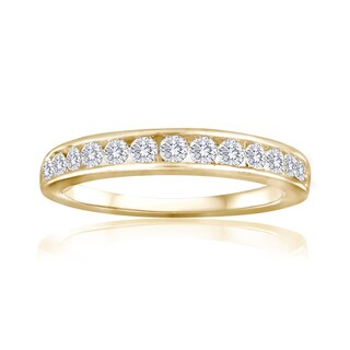 10k Yellow Gold 1ct TDW Diamond Wedding Band - White I-J