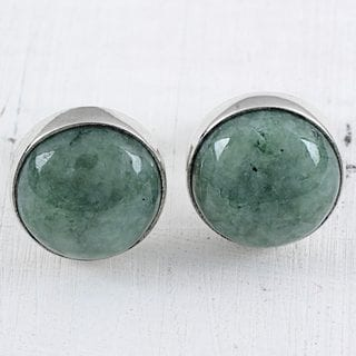 Handcrafted Sterling Silver 'Mayan Harmony in Green' Jade Earrings (Guatemala)