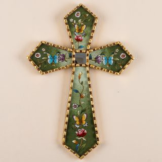 Handcrafted Reverse Painted Glass 'By the Field of Flowers' Wall Cross (Peru)