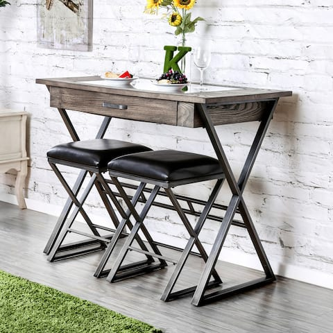 Furniture of America Bory Industrial Grey Metal Wine Storage Bar Table