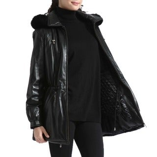 Tanners Avanue Ladies' Lambskin Anorak Fur Hood Jacket