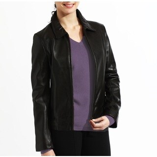 Tanners Avenue Women's Black Leather Zip-up Jacket