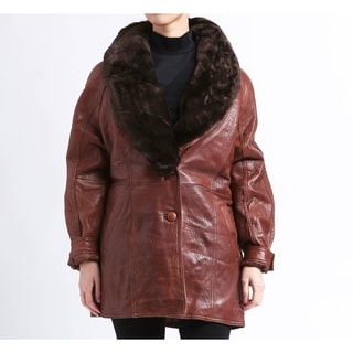 Women's Lambskin Leather Coat Coat with Faux Fur Collar