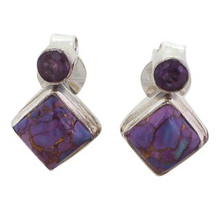 Handmade Sterling Silver 'Purple Sparkle' Composite Turquoise Amethyst Earrings (India)