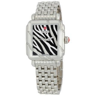 Michele Women's MWW06T000001 'Deco Safari Zebra' Diamond Stainless Steel Watch