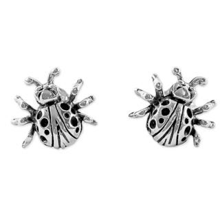 Handcrafted Sterling Silver 'Dainty Ladybugs' Earrings (Thailand)