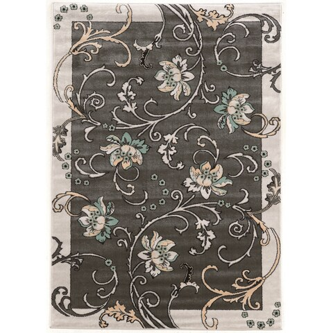 Power Loomed Elegance Flowers Polypropylene Rug