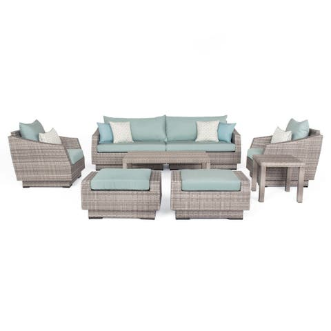 Cannon 8-piece Spa Blue Wicker Sofa and Chair Set by Havenside Home
