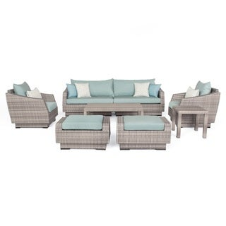 Oliver & James Simon 8-piece Spa Blue Wicker Sofa and Chair Set