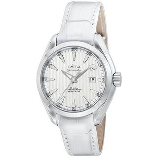 Omega Women's O23113342004001 'Seamaster Aqua Terra' Automatic White Leather Watch
