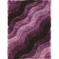 Hand Tufted Links Wave Purple Polyester Rug (5' x 7')