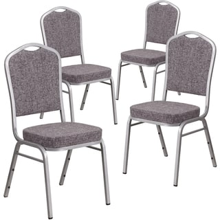 HERCULES Series Crown Back Stacking Banquet Chair with Fabric and 2.5-inch Thick Seat - Silver Frame (Set of 4)