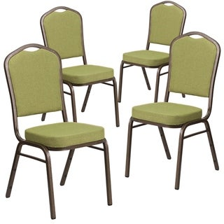 4PK Crown Back Stacking Banquet Chair - Gold Vein Frame