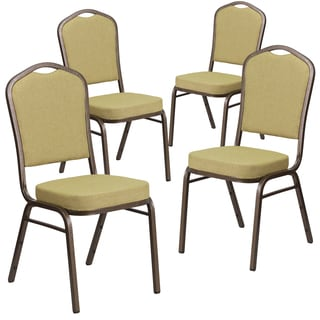 HERCULES Series Crown Back Stacking Banquet Chair with Fabric and 2.5-inch Thick Seat - Vein Frame (Set of 4)