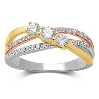 Unending Love 14k Tri-Tone Gold 5/8ct TDW 3 Stone Diamond Ring (HI I2)