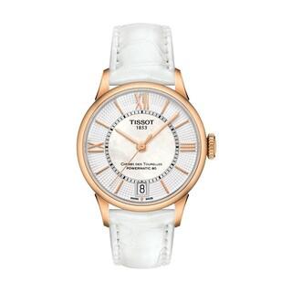 Chemin Des Tourelles Women's Automatic Goldtone White Leather Watch