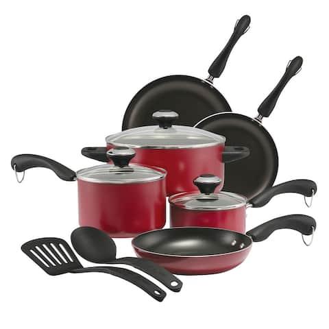 Paula Deen Signature Dishwasher Safe Nonstick 11-Piece Cookware Set, Red