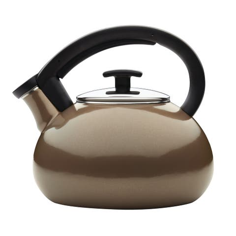 Anolon Allume Teakettles 2-Quart Enamel on Steel Teakettle, Umber