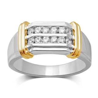 Unending Love Men's 14k Yellow Gold and Silver 1/2ct TDW Diamond Wedding Band (I-J, I2-I3)