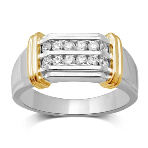 Unending Love Men's 14k Yellow Gold and Silver 1/2ct TDW Diamond Wedding Band (I-J, I2-I3)