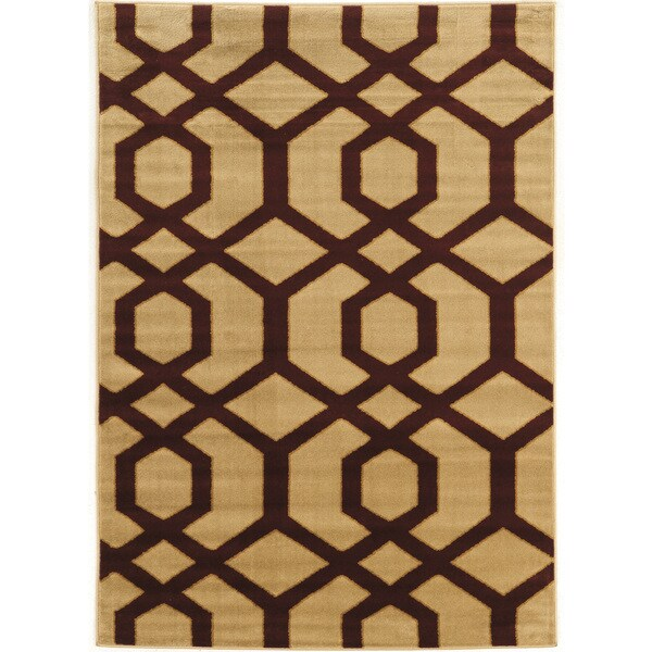 Power Loomed Elegance New Geo Burgandy Beige Polypropylene Rug - 2' X 3'