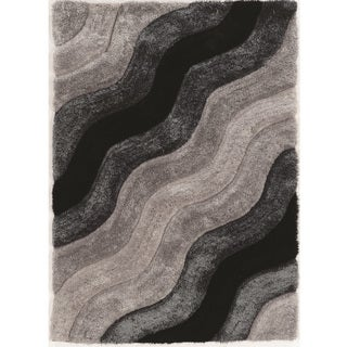 Hand Tufted Links Wave Grey Polyester Rug (8' x 10')