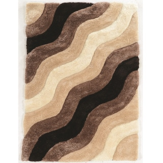 Hand Tufted Links Wave Brown Polyester Rug (8' x 10')