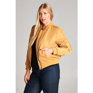 Spicy Mix Curvy Plus Philomena Long-sleeve Polyester Bomber Jacket with Pockets