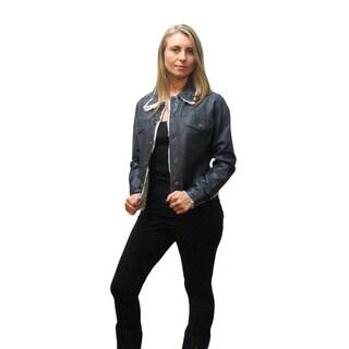 Jakett Women's Blue Leather Fringe Jacket