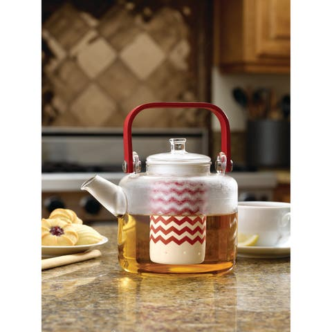 """BonJour Teapots """"Reverie"""" Handblown Glass Teapot with Bamboo Handle, 42-Ounce, Rosehip Red"""