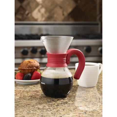 BonJour Coffee Pour Over Brewer and Pitcher, 20-Ounce, Glass with Red Handle