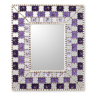 Handcrafted Reverse Painted Glass 'Lilac Magic' Wall Mirror (Peru)
