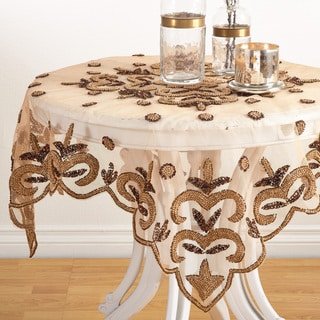 Hand Beaded Gold Tablecloth