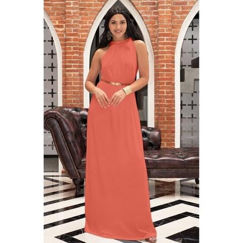 KOH KOH Womens Long Prom Formal Bridesmaid Belt Flowy Gown Maxi Dress