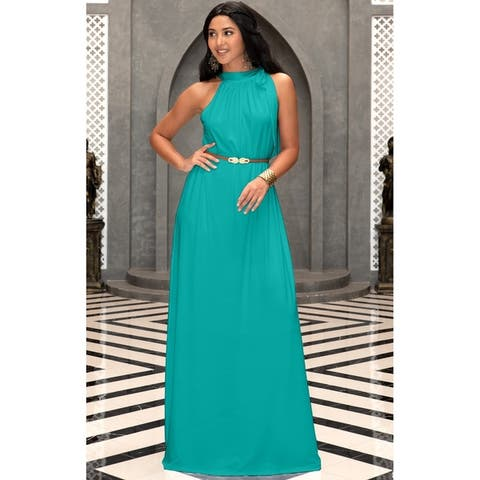8155a5cf18a KOH KOH Womens Long Prom Formal Bridesmaid Belt Flowy Gown Maxi Dress
