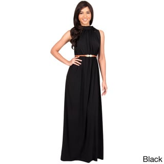 KOH KOH Womens Long Prom Formal Evening Bridesmaid Belted Summer Flowy Gown Maxi Dress