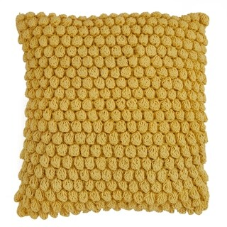 Cotton Throw Pillow With Crochet Pom Pom Design And Down Filling
