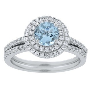 Anika and August 14K White Gold Aquamarine and Diamond Ring