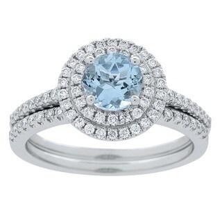 Anika and August 14K White Gold Aquamarine and Diamond Ring